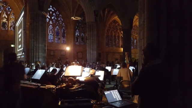 Mike Eden (Somme tour projectionist) projected all 3 screenings - here he is in the rehearsal at Exeter Cathedral