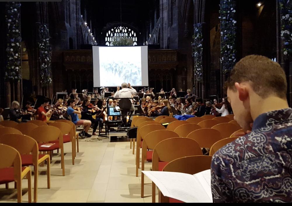 Chetham's rehearsal + Durham conductor Alex Mackinder