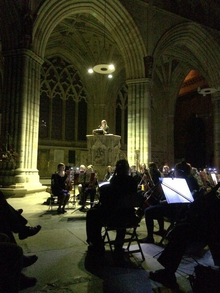 Composer Laura Rossi giving a pre-concert talk at Exeter Cathedral: